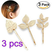 Pixnor 3 Pairs Leaves Barrettes Bobby Pin Hair Clips Bride Headwear Edge Clip Clamps Gold