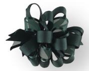 Hair Bow .60cm Grosgrain And Sheer Ribbon 7.6cm Width Hunter Green