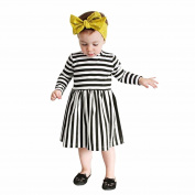 Efaster Girls Dress Long Sleeve Black White Striped Dress Casual Princess Dress