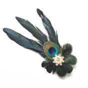 Merroyal Vintage 1920's Peacock Feather Loops Headband Fascinator Headpiece Hair clips for Fancy Party