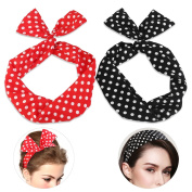 PIXNOR Wire Headband Retro Bowknot Polka Dot Wire Hair Holders for Women and Girls, Pack of 2
