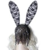 LEORX Bunny Rabbit Ears Filigree Lace Veil Costume Cosplay Masquerade Mask Headband