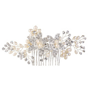 EVER FAITH Women's Crystal Cream Simulated Pearl 13cm Elegant Flower Hair Side Comb Clear Silver-Tone