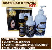 Nano Technology Brazilian Keratin Formaldehyde Free KIT Coco and Chocolate Treatment, Clarifying shampoo and Conditioner