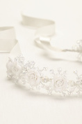Porcelain and Beaded Flower Girl Wreath Style H20610, Silver