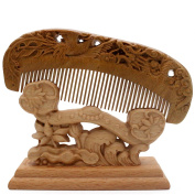 YOY Handmade Carved Natural Sandalwood Hair Comb - Anti-static No Snag Brush for Men's Moustache Beard Care Anti Dandruff Women Girls Head Hair Accessory