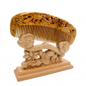 YOY Handmade Carved Natural Sandalwood Hair Comb - Anti-static No Snag Brush for Men's Moustache Beard Care Anti Dandruff Women Girls Head Hair Accessory