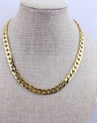 Adecco LLC Ultra Luxury Look & Feel Real Solid 14k Gold plated Curb Chain Necklace 6mm