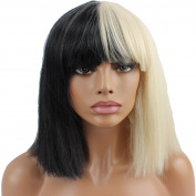 Riyang Halloween Wig Women Short Bob Kinky Straight Full Bangs Synthetic Black and Blonde