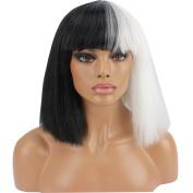 Riyang Halloween Wig Women Short Bob Kinky Straight Full Bangs Synthetic Black and White