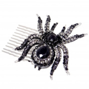 EVER FAITH Silver-Tone Black Spider Hair Comb Austrian Crystal