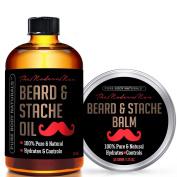 Beard Oil & Beard Balm Gift Set - 100% Natural