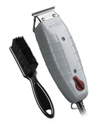 Andis Outliner Trimmer with T-Blade (Glossy Grey) with a BeauWis Blade Brush
