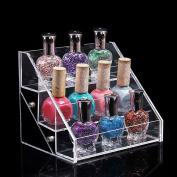 DancingNail 3 Tiers Acrylic Makeup Organiser Nail Polish Display Stand Cosmetic Container Removable Table Rack Station Holder