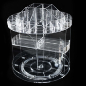 FLYMEI Acrylic Spinning Makeup Organiser Large Capacity Rotating jewellery Cosmetic Storage Case Tabletop Display