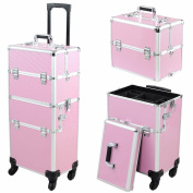 4-wheel Rolling 2in1 Makeup Train Cosmetic Case Pink