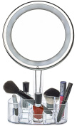 Daisi 7X Magnifying Lighted Makeup Mirror, Powerful LED Lights, Swivel Stand, Vanity tray / Make up holder stand - Round