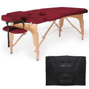 Saloniture Professional Portable Folding Massage Table with Carrying Case - Burgundy