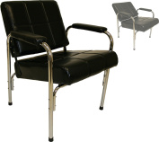 LCL Beauty Contemporary Automatic Recline Shampoo Chair with Steel Frame & Cross-Hatch Stitch Design