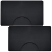 Saloniture 0.9m x 1.5m Salon & Barber Shop Chair Anti-Fatigue Floor Mat - Black Rectangle - 1.3cm . Thick - 2 Pack