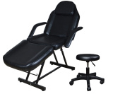 TMS 190cm Adjustable Tattoo Massage Bed Facial Beauty Barber Chair w/ Hydraulic Stool