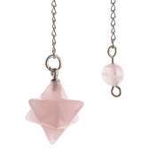 JOVIVI Natural Rose Quartz Merkaba Pendulum Reiki Chakra Pendant Beads Chian Necklace