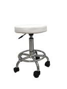 White Hydraulic Multi-purpose Adjustable Rolling Stool w/ Foot Rest for Massage Tables, Examination Tables, Office, Medical and Home
