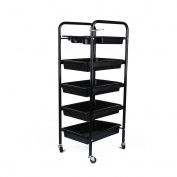 Salon Hairdresser 5-Tier Drawers Storage Trolley with Castors, Multifunctional Hairdressing Beauty Makeup Cart Colouring Spa Salon Cart, Black