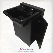 Black Square ABS Plastic Beauty Salon Shampoo Bowl Floor Cabinet w/ Storage TLC-B22-FC