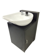 White CERAMIC Beauty Salon Shampoo Bowl Floor Cabinet w/ Storage 07WHTE-B07C
