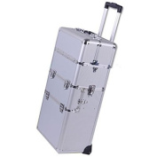 38-in 2in1 Professional Rolling Train Aluminium Cosmetic Makeup Case Silver w/ Key Lock Storage Trays Wheels Handle Strap Velvet Int Beauty Travel Detachable Tote Box