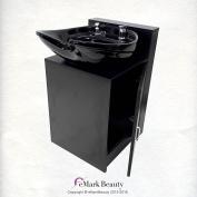 Black CERAMIC Beauty Salon Shampoo Bowl Floor Cabinet w/ Storage B07FC