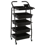 Anself Salon Hair Drawers Trolley Rolling Cart Storage 5 Layers for Barber Hairdressing Colouring