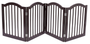 Internet's Best Pet Gate with Arched Top | 4 Panel | 60cm Step Over Fence | Free Standing Folding Z Shape Indoor Doorway Hall Stairs Dog Puppy Gate | Espresso | Wooden