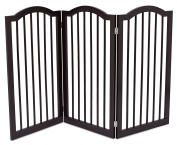 Internet's Best Pet Gate with Arched Top | 3 Panel | 90cm Tall Fence | Free Standing Folding Z Shape Indoor Doorway Hall Stairs Dog Puppy Gate | Espresso | Wooden