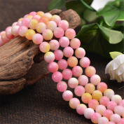 Grade A Natural Multi-tones Pink Yellow Jade Beads 6mm 8mm 10mm 12mm Smooth Polished Round 15 Inch Strand JA07
