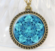 New Occult Wiccan Necklace Vintage Jewellery Bronze/Silver/Black Chain Magic Pentagram Glass Cabochon Picture Pendant