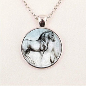 New Fashion Carousel Horse Necklace Merry Go Round Chain Glass Picture Pendant