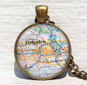 Omaha map pendant, Omaha map necklace, map jewellery Omaha pendant Nebraska map, Omaha pendant