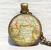 Vintage Map, Central Africa, Belgian Congo, antique map jewellery, map resin pendan