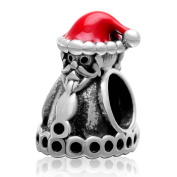 Santa Claus with Red Hat Charm 925 Sterling Silver Christmas Charm for Pandora Charm Bracelet