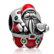 Santa Claus Charm 925 Sterling Silver Christmas Charm for Pandora Charm Bracelet