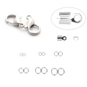 Mix Jewellery Findings, 10pcs Cord Ends,10pcs Mix Sizes Open Jump Ring, 10pcs Alloy Lobster Clasp Hook for DIY