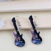 Cute Guitars Acrylic Earrings-1 Pair Blue