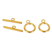 VALYRIA 3 Sets Gold Plated Stainless Steel Toggle Clasps Jewellery Findings 20mmx15mm 25mmx7mm