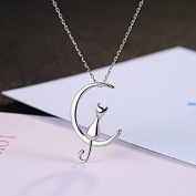 JewelryLove 925 Sterling Silver Cat On The Moon Necklace Pendants Chain For Gift