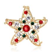 Miss.AJ Pretty Christmas Gold-tone Brooch Pin Clear Rhinestone Crystal with gift box
