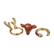 Flee 3PCS Elk Adjustable Ring Cute Christmas Animal Finger Ring