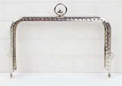 Silver Colour Embossed Purse Frame - Rectangle Bead - 13cm / 5.1inch