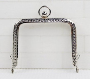 Silver Colour Embossed Purse Frame - Rectangle Bead - 8.5cm / 3.3 inch